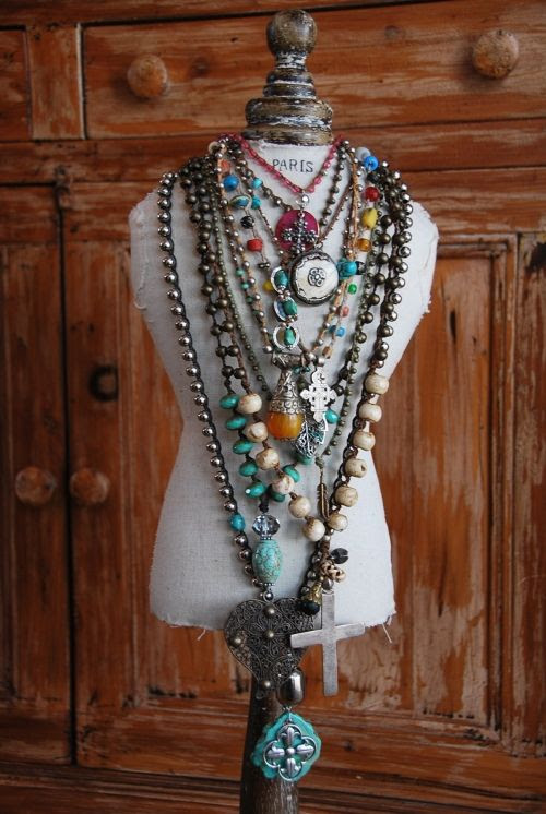 Stacked Jewelry: layered turquoise extra long necklaces #cool #jewelry