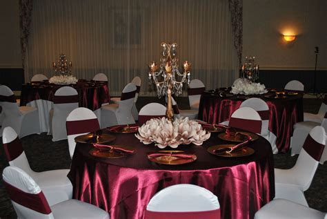 Sweet 16 Marsala/Burgundy and Champagne Table Decor with