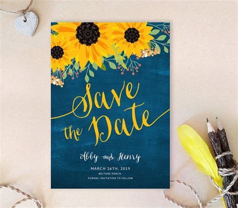 PRINTED   sunflower save the dates   Rustic Save the date
