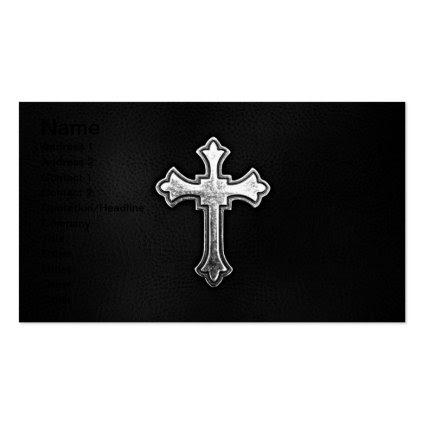 Metallic Crucifix on Black Leather Business Card Template