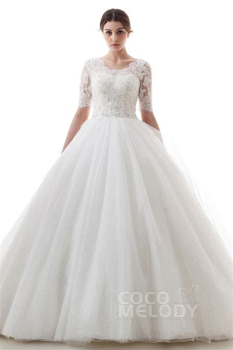 Princess Train Tulle Half Sleeve Wedding Dress B14TB0056