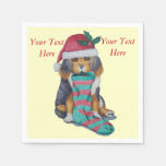 cute black and brown puppy with stocking christmas standard cocktail napkin