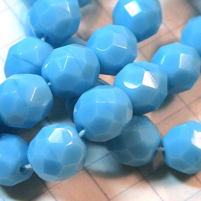 27001756-02 Firepolish - 8 mm Faceted Round - Opaque Turquoise Blue (25)