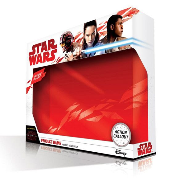 An image of Poe Dameron, Rey and Finn on an empty toy box for STAR WARS: THE LAST JEDI.