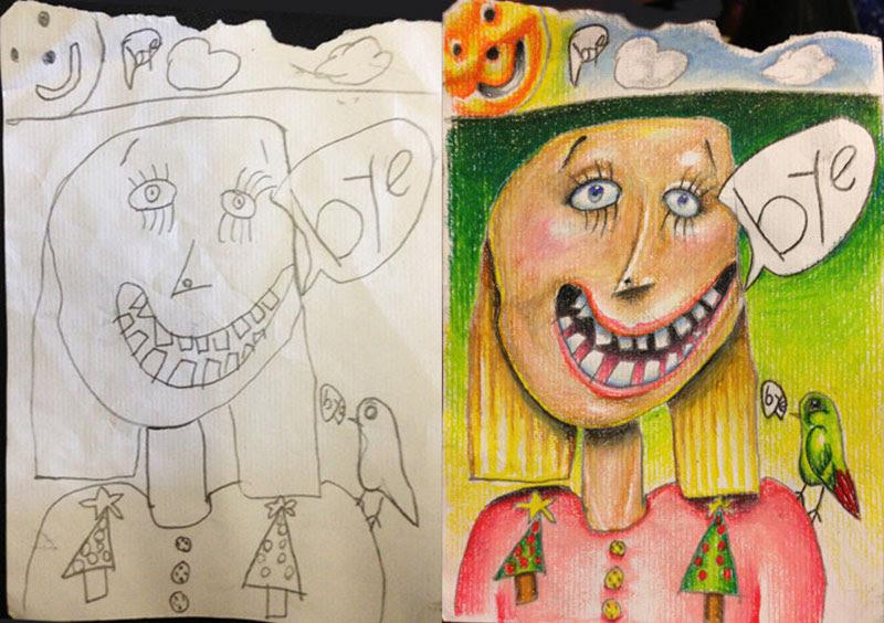 dad colors in his kids drawings (2)