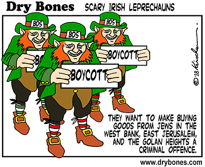 Dry Bones cartoon, Ireland. Leprechaun, antisemitism, BDS,boycott,antisemitic,