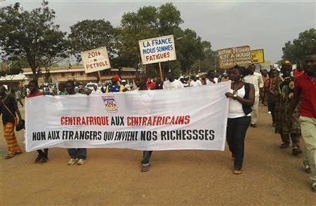 Demonstration against anti-government rebels in the Central African Republic capital of Bangui on December 27, 2012. President Bozize has asked France to assist in halting the rebel advance, but to no avail. by Pan-African News Wire File Photos