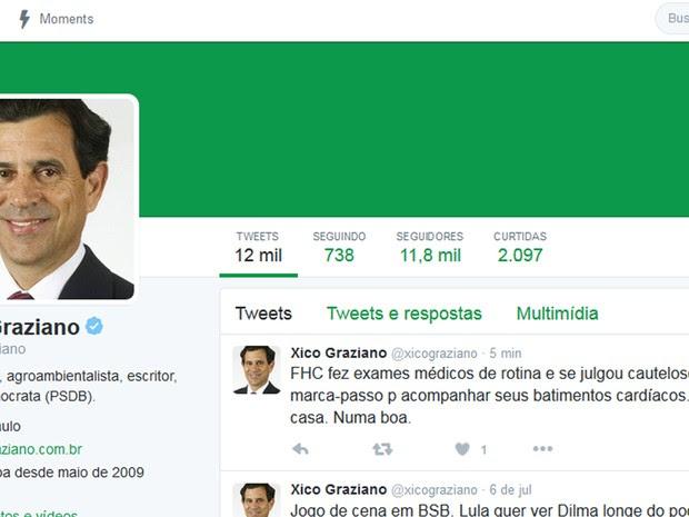 Xico Graziano (PSDB) diz que ex-presidente Fernando Henrique Cardoso fez exames e vai colocar marca-passo (Foto: Reprodução Twitter/@xicograziano)