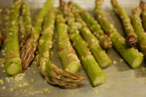 Asparagus ready to be roasted