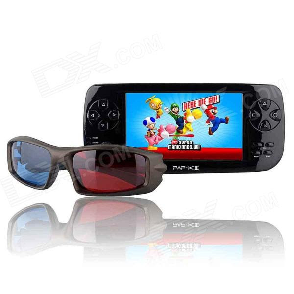 """PAPKIII 3D 4.3"""" TFT Screen Game Console Multi-Media Player w/ Camera / FM / TV-Out - Black (4GB)"""