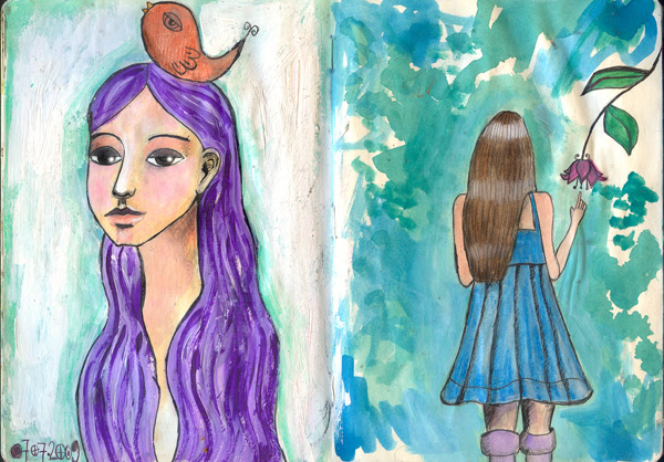 art journal july - hair