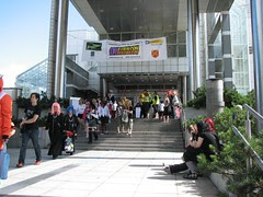 Main entrance to Tamperetalo, people in cosplay costumes going in and out