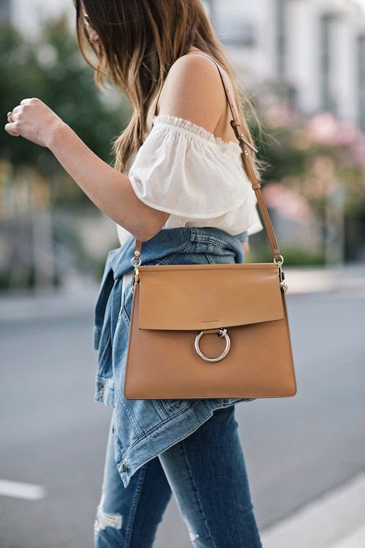 Le Fashion Blog Blogger Style Skinny Jeans White Off Shoulder Shirt Chloe Purse Via Thrifts And Threads