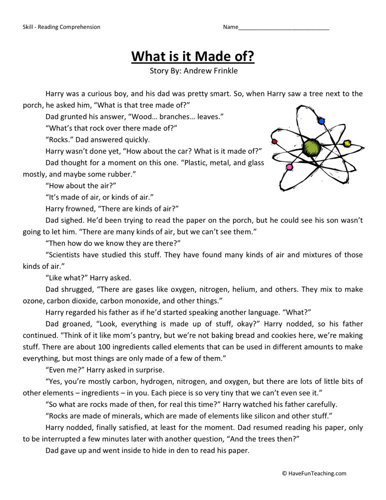 Reading Prehension Worksheet What Is It Made Of