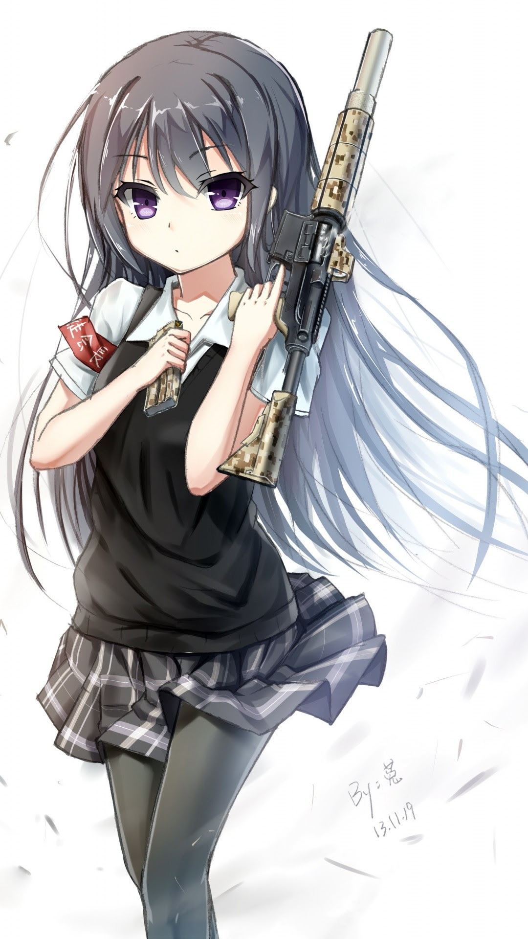 Download 1080x1920 Anime Girl, Weapon, Long Hair, M4a1 ...