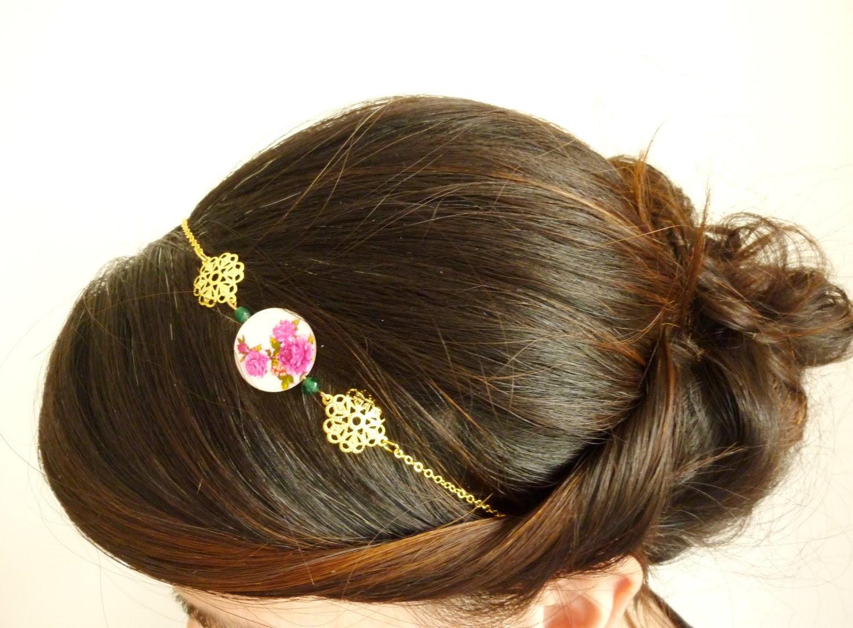 Floral Headband-Gold filigree headband-Beaded hair accessory-Pink and gold- Adjustable headband - HeadbandFactory