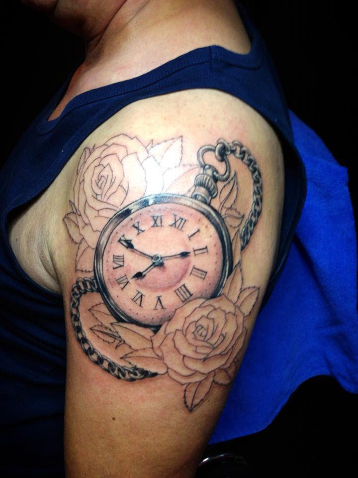 Outline Rose Flowers And Clock Tattoo Design By Nsanenl