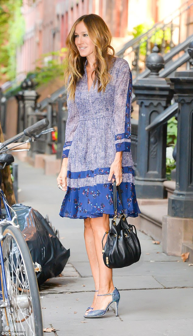 Walk down memory lane: Fans got a blast from the past as SJP wandered around her alter-ego Carrie Bradshaw's old neighbourhood