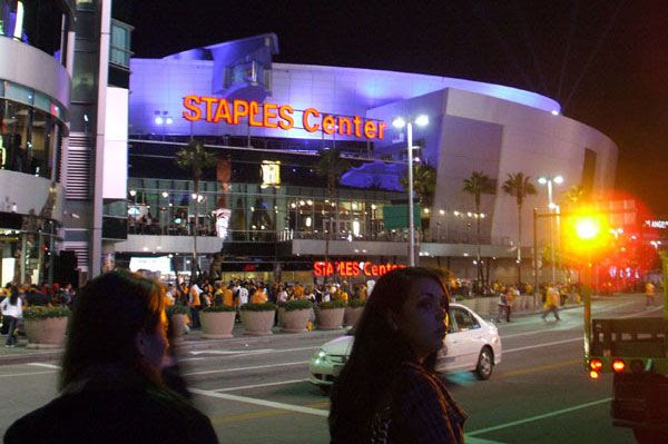 A night shot of STAPLES Center after the Lakers won their first home game of the season, on October 26, 2010.
