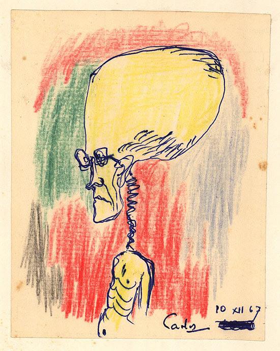 Autocaricatura de Carlos Drummond de Andrade, com caneta-tinteiro e lápis de cor sobre papel