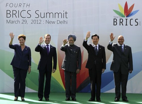 Leaders of the BRICS countries who met on March 28-29, 2012 in New Dehli, India. They called for the formation of a new international bank and for no imperialist intervention in Syria and Iran. by Pan-African News Wire File Photos