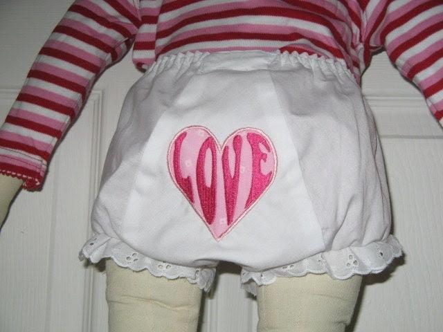 Custom Design Baby Girl Love Heart  Bloomer Diaper Cover with Coordinating Onesie