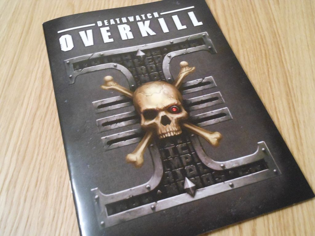 The rulebook for Deathwatch: Overkill, featuring the Deathwatch logo on the cover.