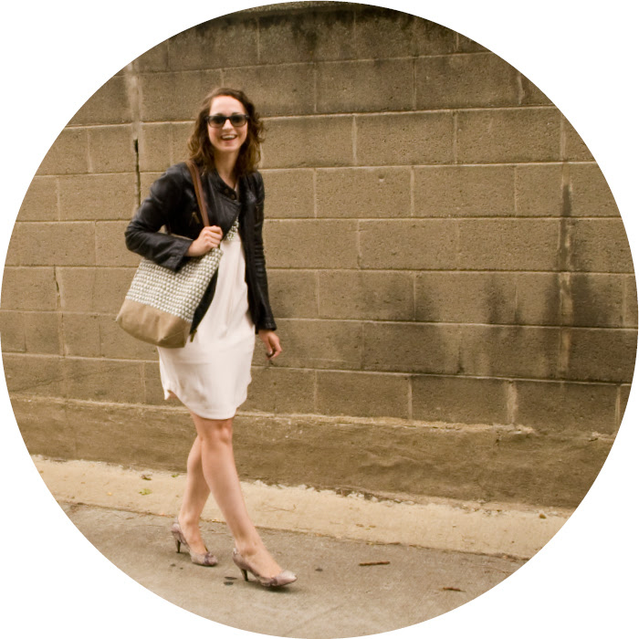 september outfit, white dress with leather jacket, rachel roy dress, snakeskin pumps, what to wear to work, dotty style, ootd