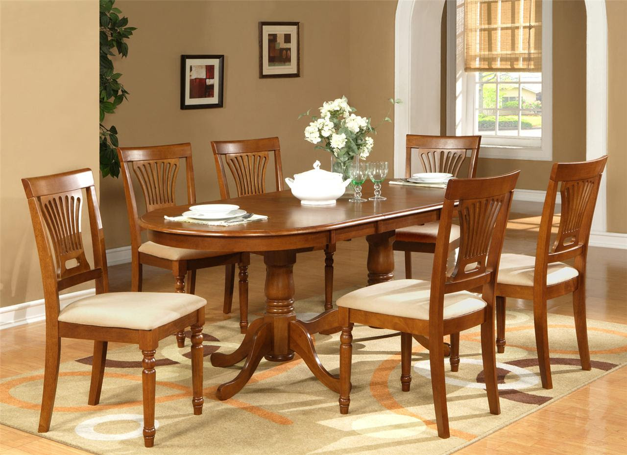 7PC OVAL DINING ROOM SET TABLE 42\u0026quot;X78\u0026quot; with LEAF and 6 CHAIRS IN SADDLE BROWN  eBay
