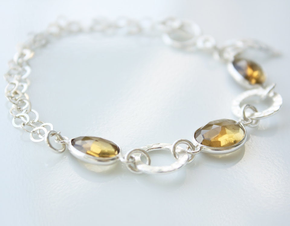 Yellow Citrine Bracelet - Sterling Silver Charm Bracelet