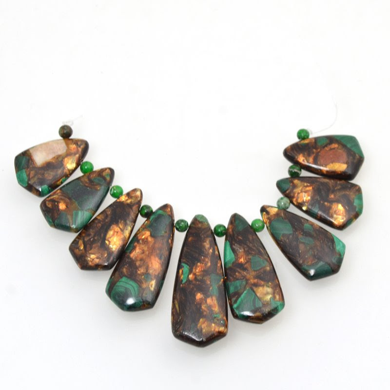 s48761 Stone Pendant -  Shield Pendant Set - Malachite Bronzite