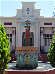 Rosicrucian Temple and fountain