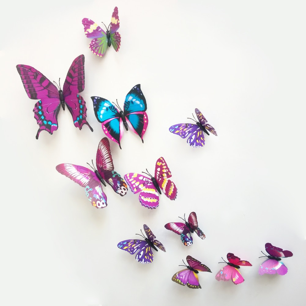 Hot 12pcs 3d butterfly magnet wall stickers home decorative kid butterfly curtain decor wallpaper decals