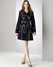Laundry by Shelli Segal oxford double breasted trenchcoat