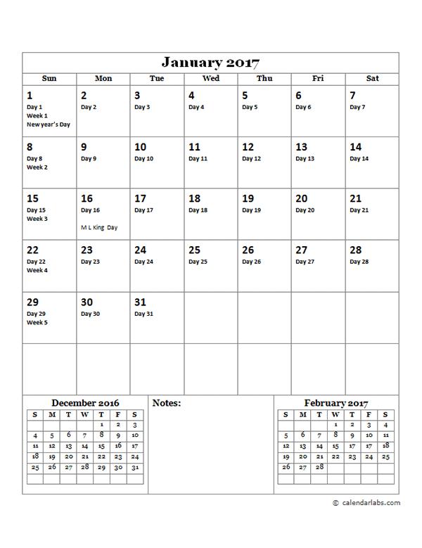 2017 Yearly Julian Calendar - Free Printable Templates