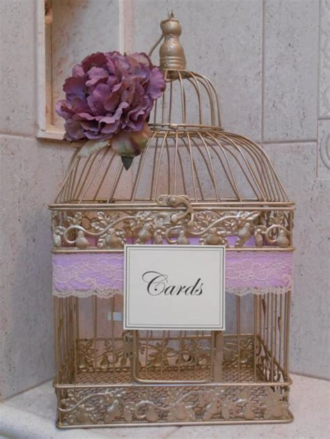 Gold Birdcage Wedding Card Holder / Card Box / Lavender