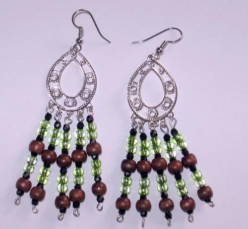 Wood and glass beaded earrings