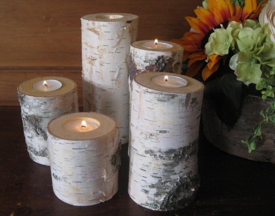 5 Birch Bark Candle Holders Wedding Decor Rustic Woodland ...