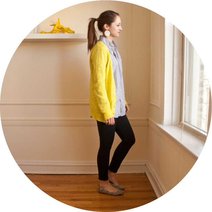 february outfit, ootd, neon cardigan, neon and stripes, overszied striped shirt, printed flats, what to wear, medallion earrings