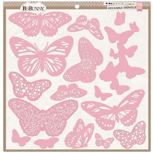 Estencil Stencil Plantilla Mariposas Adhesivas Scrapbook Hobbees
