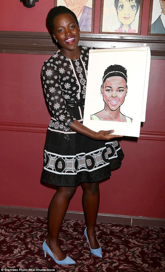 Just face it! Lupita Nyong'o's caricature was unveiled in full at Sardi's restaurant in New York on Thursday