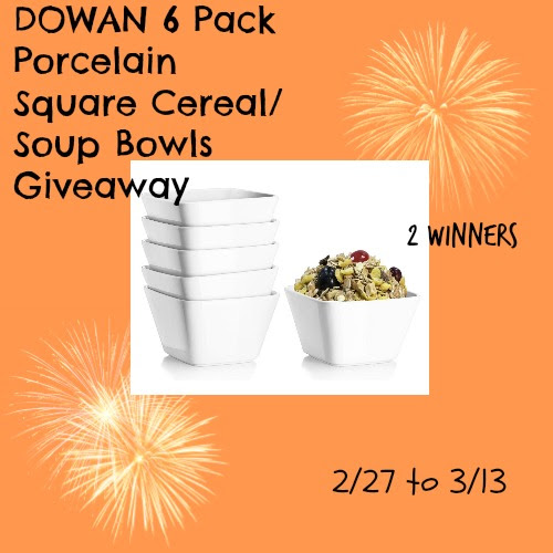 Enter the DOWAN 6 Pack Porcelain Square Cereal/Soup Bowls Giveaway. Ends 3/13