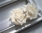 Ivory Baptism silk cross Flower Headband, Baby to Toddler Headband, Newborn Photo Prop, Christening headband - verosjoy