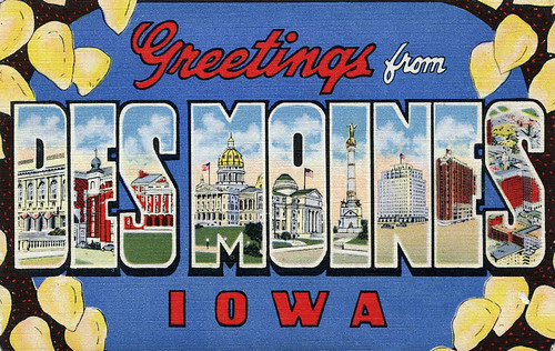 Greetings from Des Moines, Iowa - Large Letter Postcard