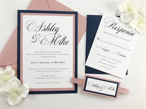 beautiful navy  dusty rose pink wedding invitation