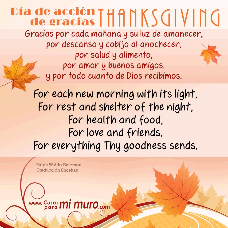 Poema De Thanksgiving En Espanol E Ingles Cosas Para Mi Muro