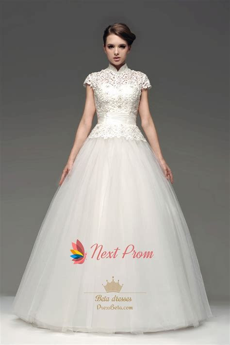 High Neck Floor Length Ball Gown Lace Wedding Dress With