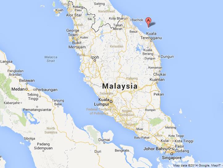 Redang Island on Map of Malaysia
