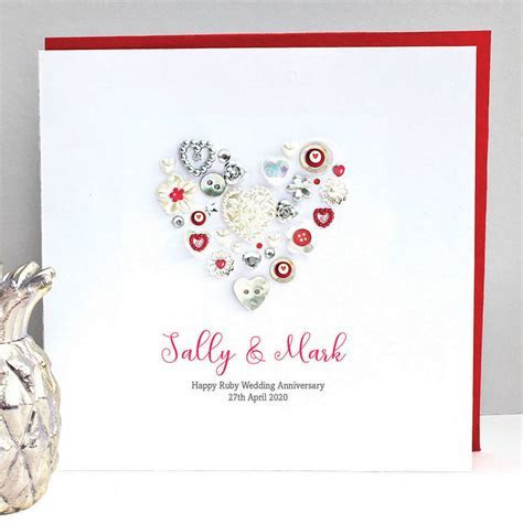 personalised ruby wedding anniversary card by sweet dimple