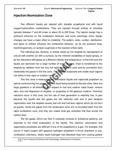 Cryogenic rocket engines report